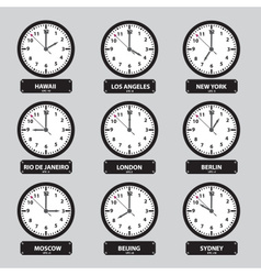 time zones black and white clock set eps10 vector image
