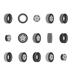Tires wheel disks auto service icons vector