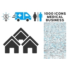 Town Buildings Icon with 1000 Medical Business vector