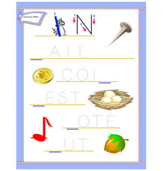 Tracing letter n for study english alphabet vector