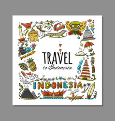 Travel to indonesia greeting card for your design vector