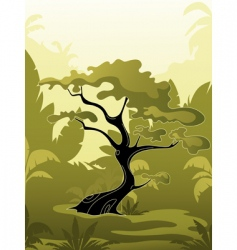 tree in jungle vector image