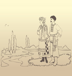 Ukrainian couple in national costumes vector