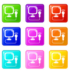 ultrasound icons set 9 color collection vector image