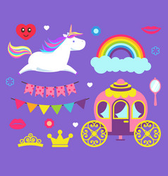 Unicorn and rainbow princess party set vector