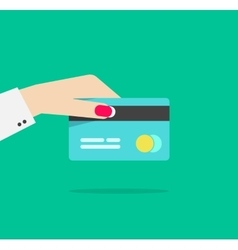 Woman hand holding credit card vector
