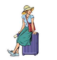 woman tourist sitting on a travel suitcase vector image