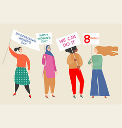 women holding placards with congratulations vector image