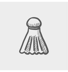 Badminton shuttlecock sketch icon vector image