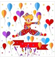 Clown balloons ribbon salute vector image vector image