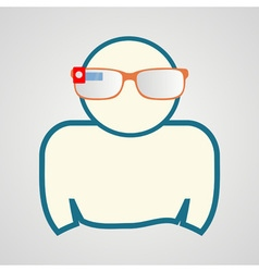 man with smart glasses vector image vector image