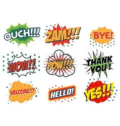 set of comic speech bubbles in trendy fla style vector image