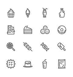 sweet dessert sugar cause of obesity line icons vector image
