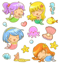 cute mermaids collection vector image vector image