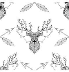 Magic deer with arrows seamless pattern in vector image vector image