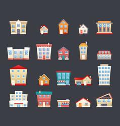 modern trendy retro house street flat icons set vector image vector image