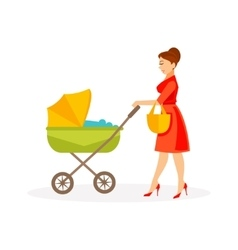Mother with stroller vector image vector image
