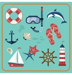 Set of nautical and marine icons vector image