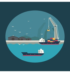 Cargo ship with working crane loading containers vector image