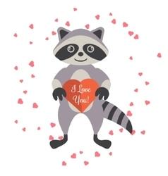 Cartoon raccoon holding valentine heart card vector image