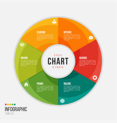 cycle chart infographic template with 6 parts vector image
