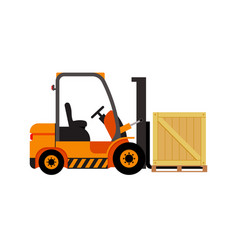 forklift truck with wooden box vector image