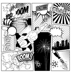 Set of comics speech and explosion bubbles on a vector image vector image
