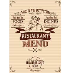 template for the cover of menu with chef vector image vector image