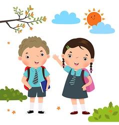 Two kids in school uniform going to school vector image vector image