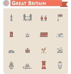 United Kingdom travel icon set vector image vector image