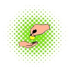 A hand giving a coin icon comics style vector