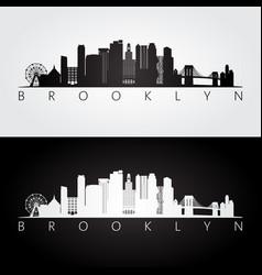 brooklyn new york city usa skyline and landmarks vector image