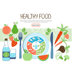 flat healthy food concept vector image