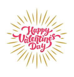 happy valentines day hand drawing lettering card vector image vector image