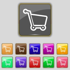 Shopping cart icon sign Set with eleven colored vector image vector image