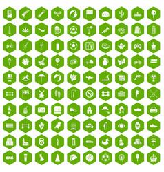 100 ball icons hexagon green vector