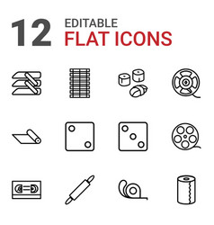 12 roll icons vector image