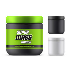 3d mass gainer bottle realistic protein container vector image