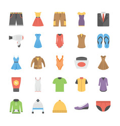 A icons set of fashion in flat design vector