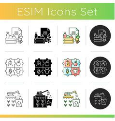 Agribusiness icons set vector