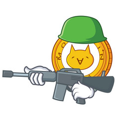 army monacoin character cartoon style vector image