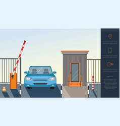 automatic rising up barrier system gate vector image