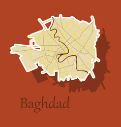 Baghdad city map - iraq sticker isolated vector
