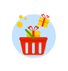 basket with gift boxes isolated on white vector image