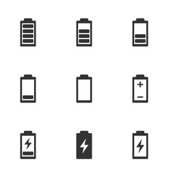 battery life icon set charge indicator vector image