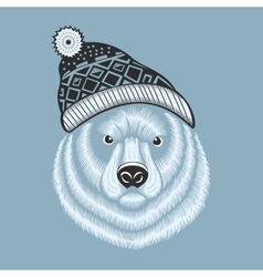 Bear hipster in knitted hat with vector