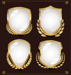 Black and white shield with laurel wreaths vector