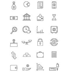 Black finance icons set vector