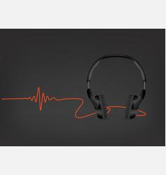 black modern headphones with sound wave on black vector image