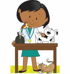 black woman vet and pets vector image